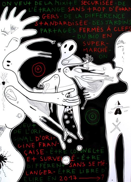 ORAN - Florian et Morgane Clerc - A-Fichés - 2016 - collage et feutre sur carton noir - 100 x 72