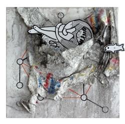 ORAN - GÉMEAUX - 2017 - feutre plâtre encre papier sur toile - 40 x 40